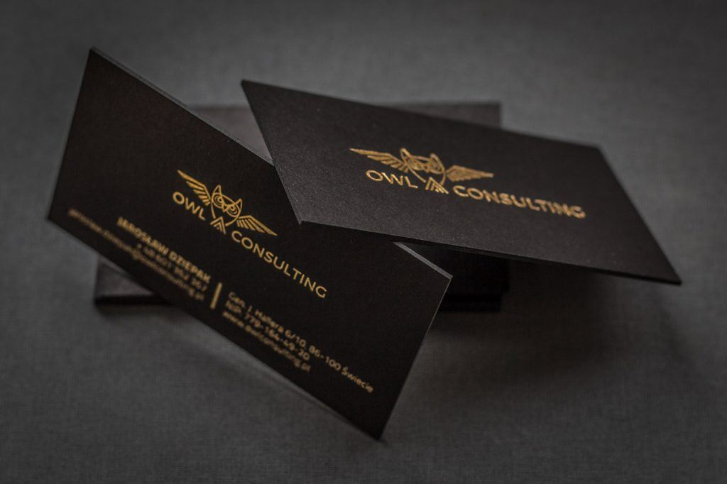 Prime Business Cards | Letterpress black card with hotstamping- Owl ...