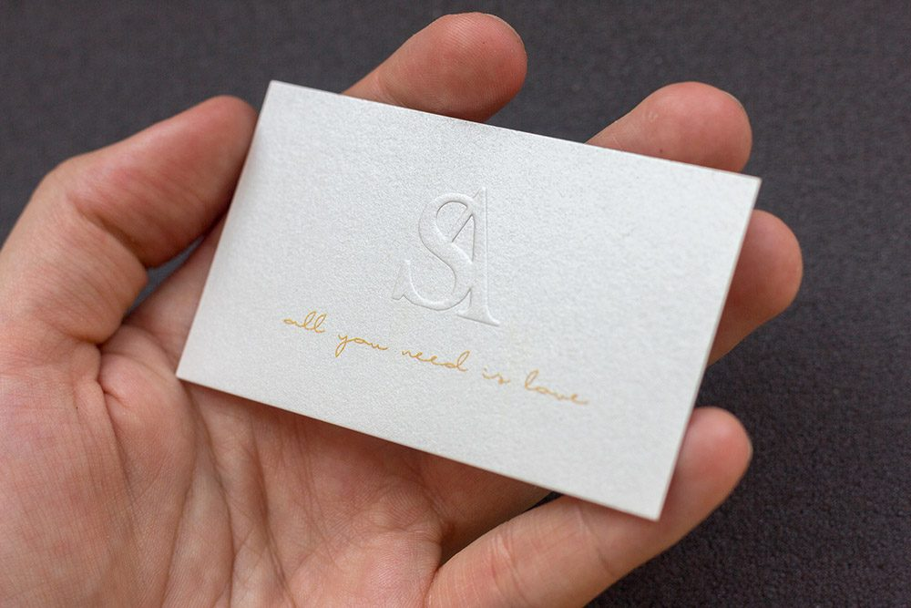 Prime Business Cards | White Paper card with embossing- Adam